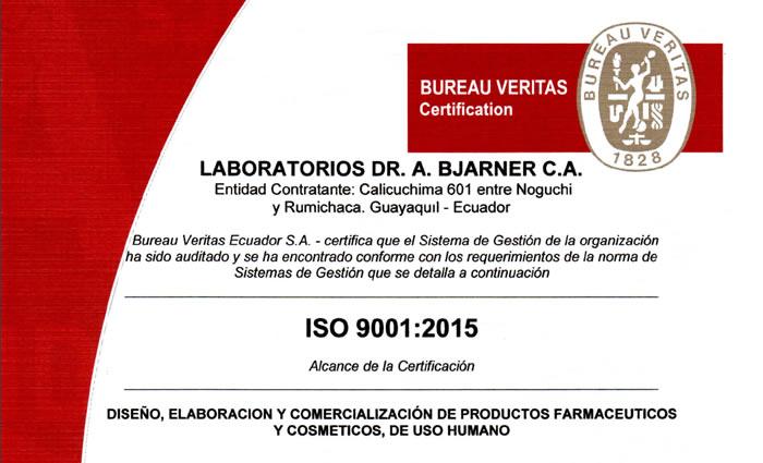 EL LABORATORIO DR. A. BJARNER C.A. RENUEVA SUS CERTIFICACIONES ISO-9001 Y BPM